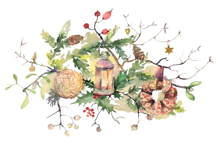 Christmas bouquet Watercolor png example image 1