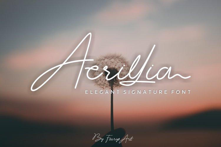 Acrillia elegant signature font example image 1