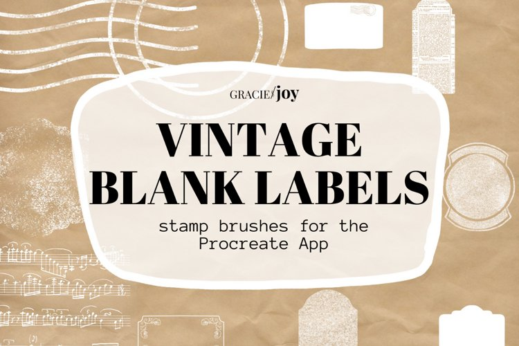 Vintage Blank Label Stamp Brushes for Procreate example image 1