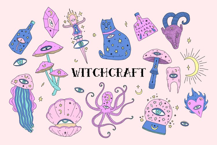 Witchcraft Elements Vector Set example image 1