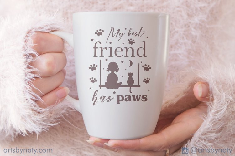 My best friend has paws Cat SVG Quote. example image 1