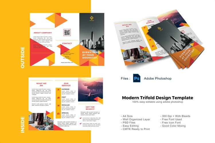 Triangle business trifold photoshop template