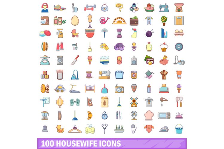 100 housewife icons set, cartoon style example image 1