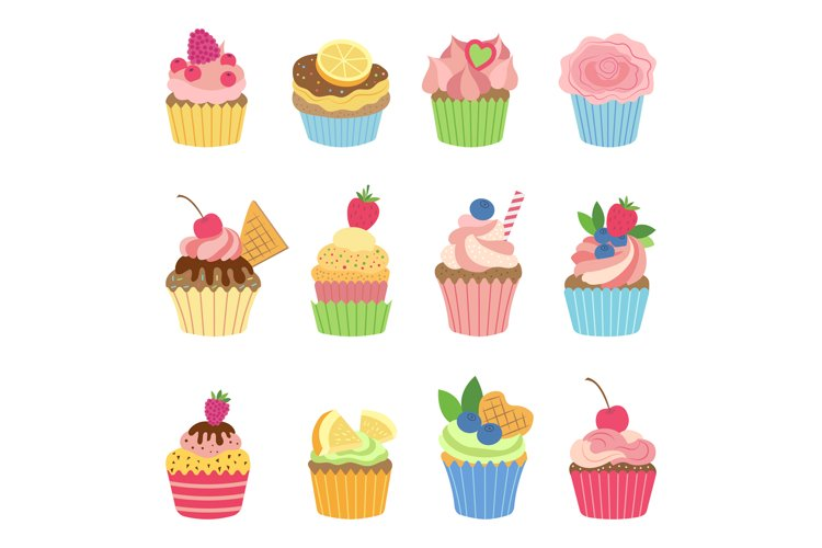 Vanilla muffins and cupcakes with chocolate. Vector illustra example image 1