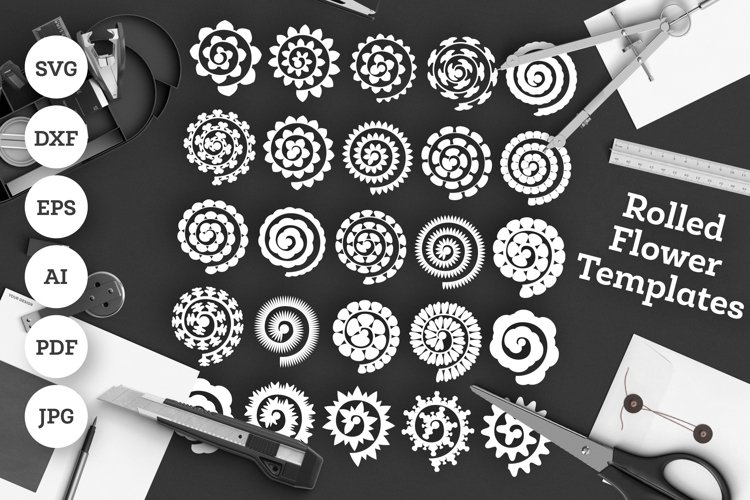 25 Paper Rolled Flower Cut Templates SVG / DXF / EPS / Ai