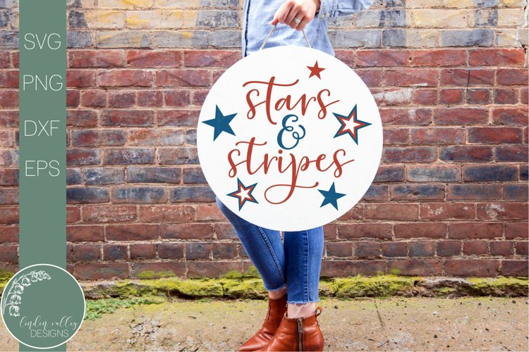 Stars And Stripes Round Svg-Front Door Sign-Patriotic