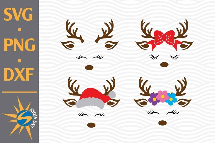 Reindeer Head SVG, PNG, DXF Digital Files Include example image 1