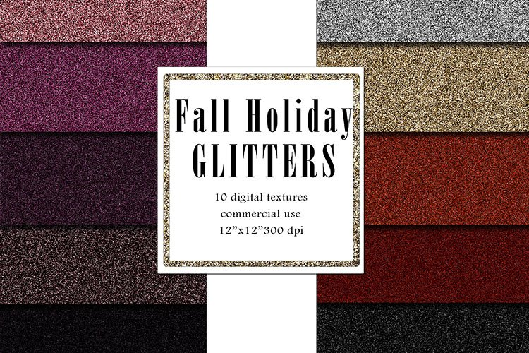 Fall Holiday Glitters, Black Glitter Background example image 1
