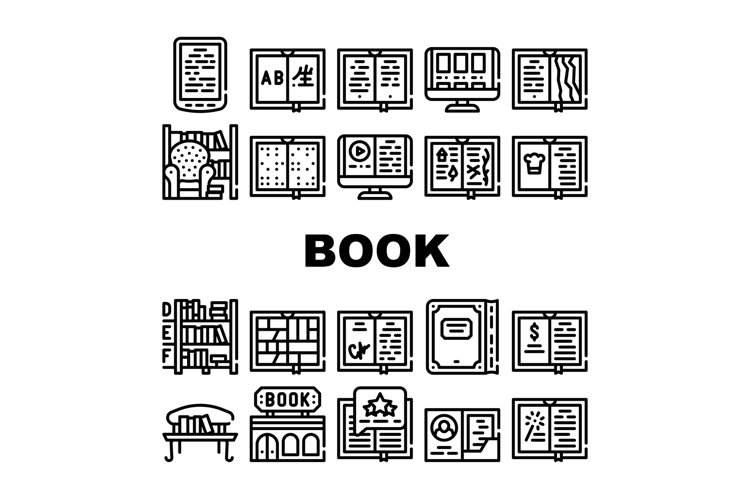 Book Library Shop Collection Icons Set Vector example image 1