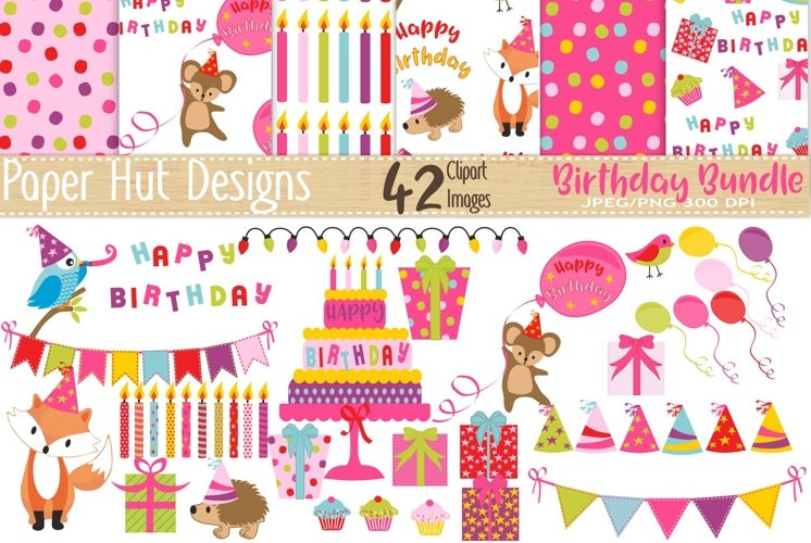 Birthday Girl Clipart and Digital Papers Set example image 1