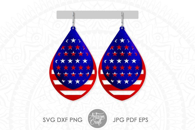 American flag earrings, Fourth of July earrings, svg