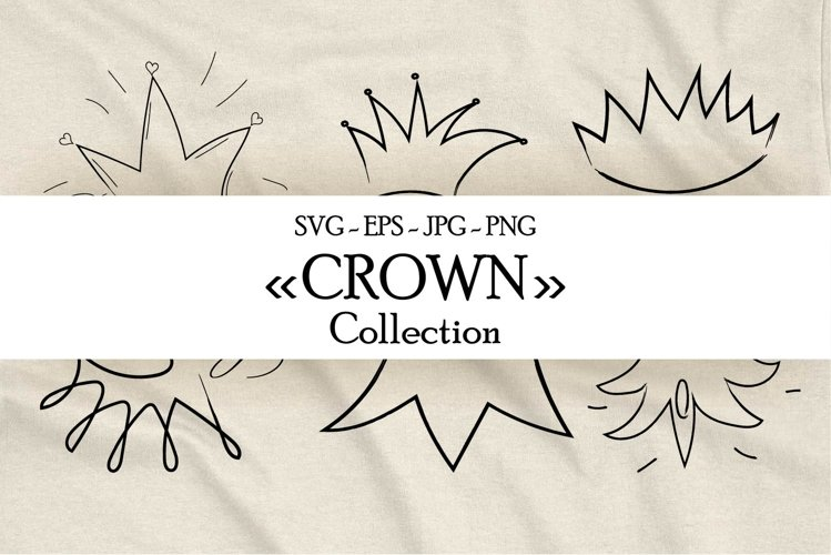 """Crown"" doodle style clip art collection example image 1"