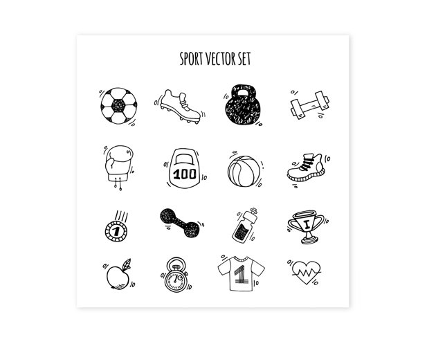 Sport and Gym clipart. Sport man doodle sketch hand drawn example 1