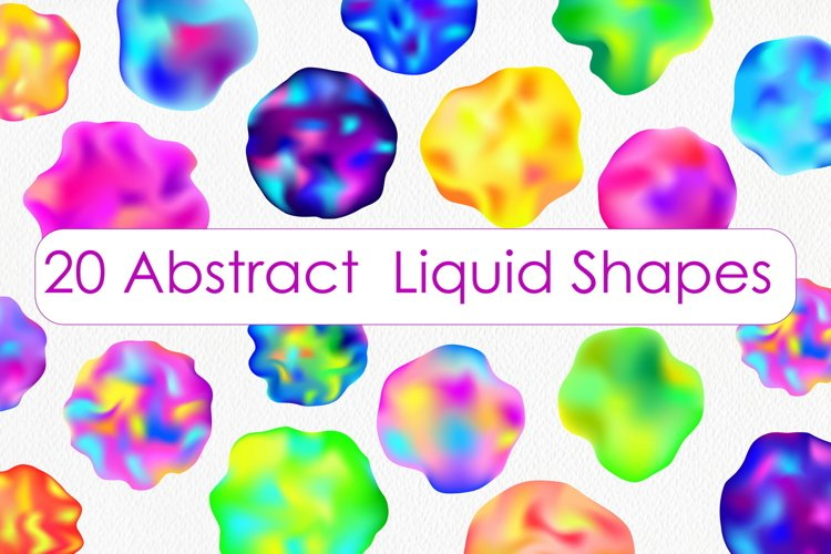 Colorful Liquid Geometric Shapes Clipart - Abstract Art