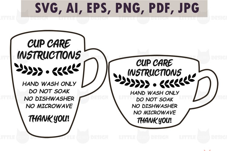 Mug Cup Care Instructions, printable Care Card SVG Bundle example image 1