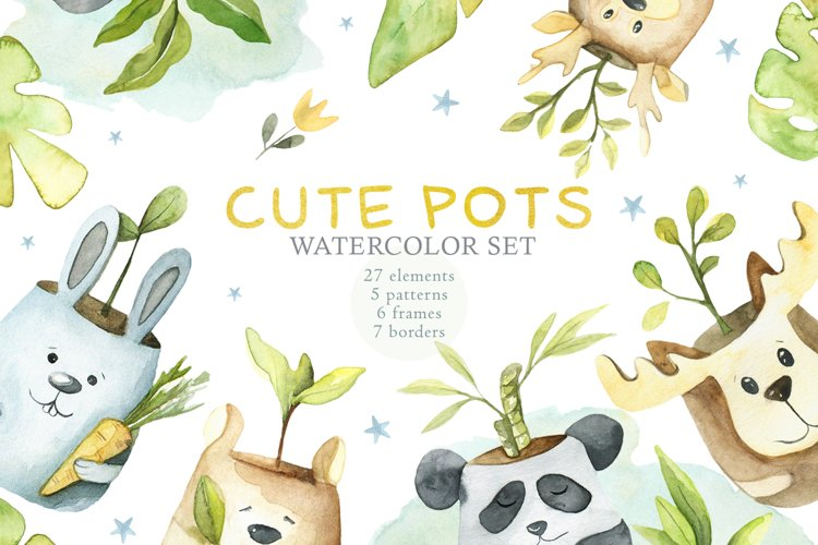 Cute Pots Watercolor Set example image 1