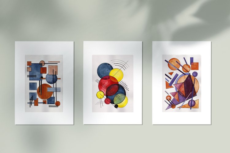 Hand painted Abstract Simple Geometric Forms Composition example image 1