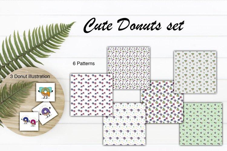 Donuts vector graphics Cute illustrations
