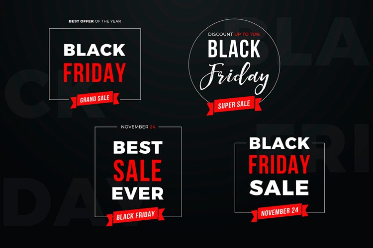 4 Black Friday Sale Banners Set example image 1