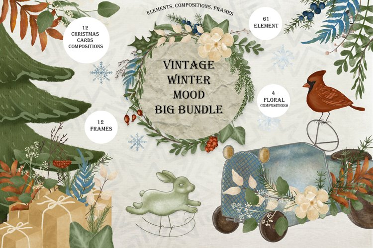 Christmas clipart / watercolor vintage illustrations