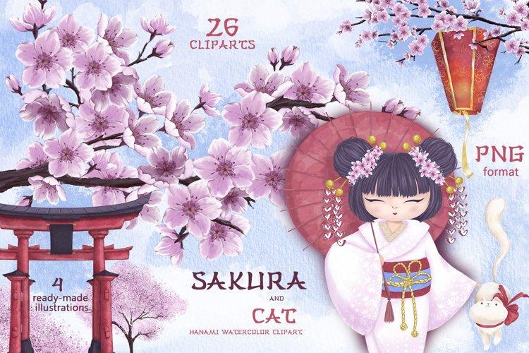 Sakura and the cat. Hanami watercolor clipart