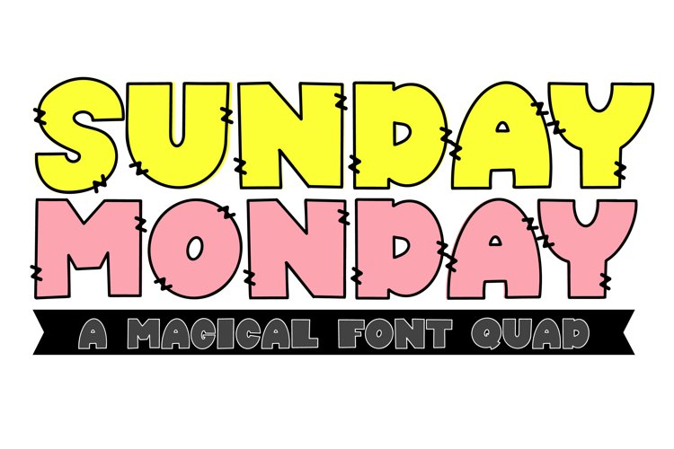 Sunday Monday - A Thick Outline Font Quad example image 1