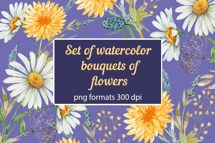 set of watercolor bouquets of flowers