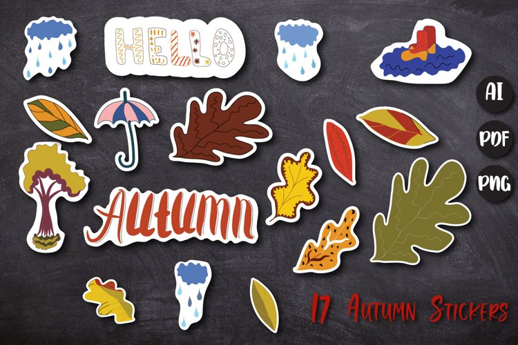Leaves bundle 17 clipart stickers example image 1
