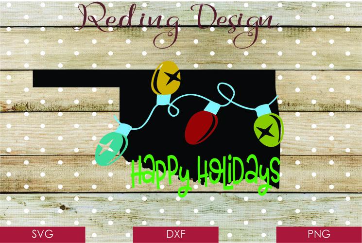 Oklahoma Happy Holidays Christmas SVG Digital Cut Fi