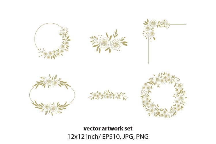 floral wreath- VECTOR ARTWORK SET example image 1