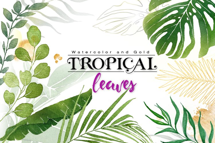 Watercolor & Gold Tropical Leaves Collection example image 1