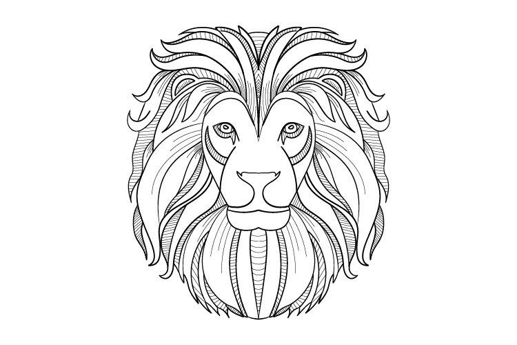 lion face modern doodle illustration example image 1