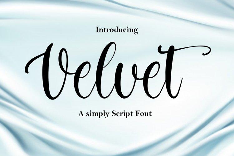 Velvet - a simply script font example image 1