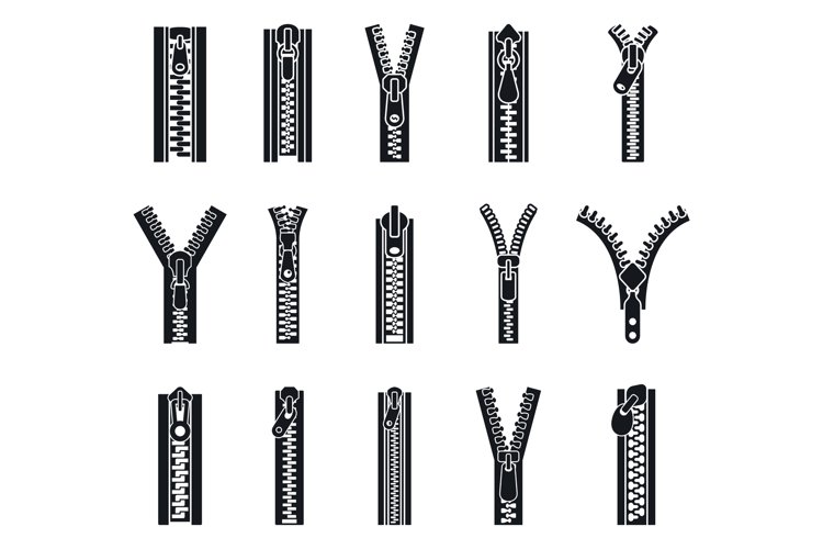 Clothing zipper icon set, simple style example image 1