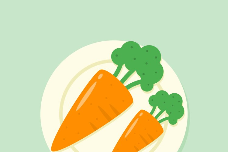 Carrot in a plate illustration example image 1