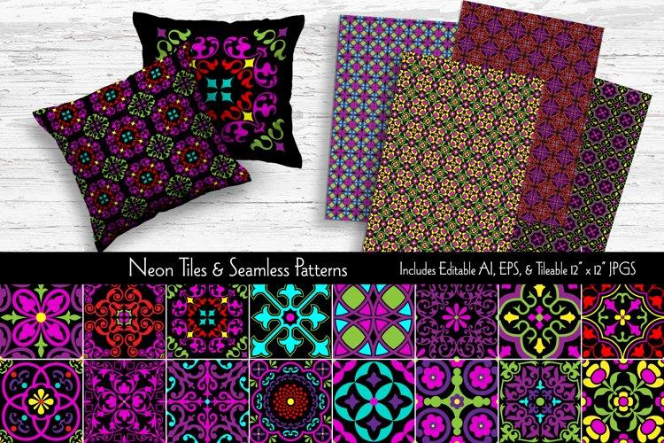 Neon Tiles & Seamless Patterns