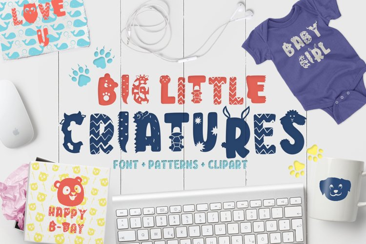 Big Little Creatures - Animal font with EXTRAS example image 1