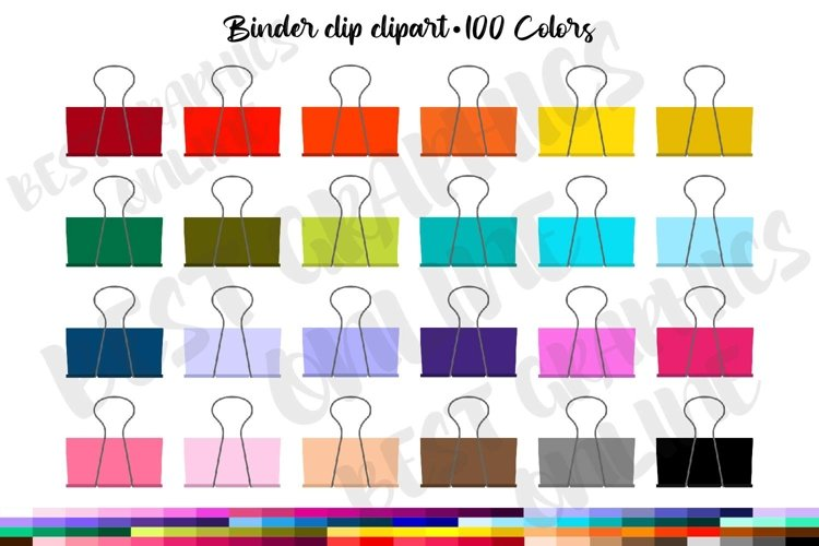 100 Binder clip clipart, Office supply clipart graphic example image 1