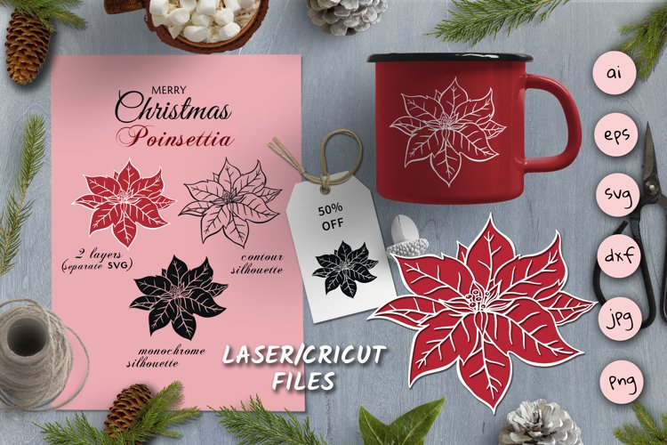 Christmas SVG Silhouettes for Laser | Cricut Poinsettia example image 1