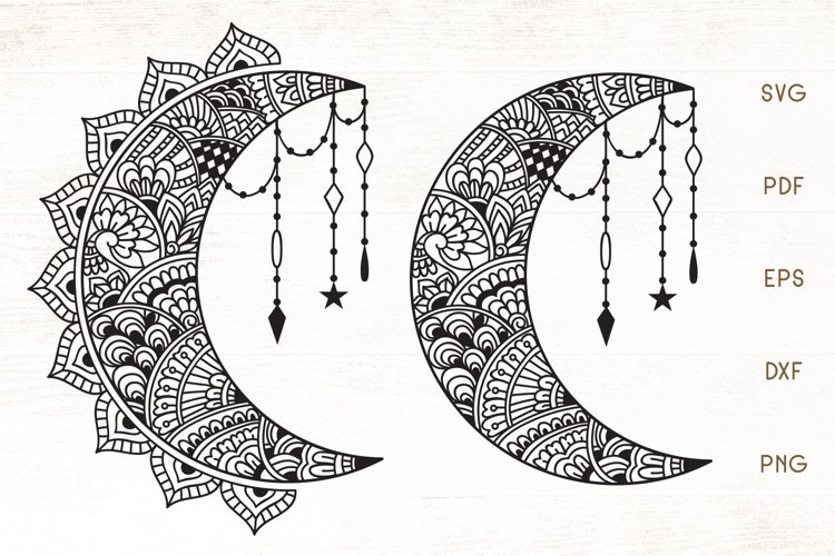 Floral Crescent Moon SVG - Zentangle Moon SVG example image 1