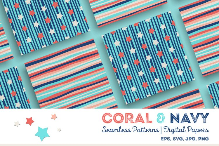 Coral & Navy | Seamless Patterns | Digital Papers example image 1