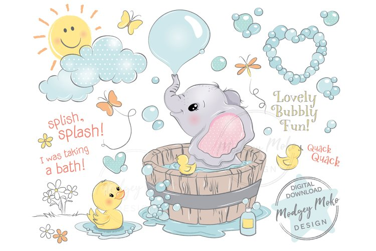 Baby Elephant in bath tub with Duckling CLIPART