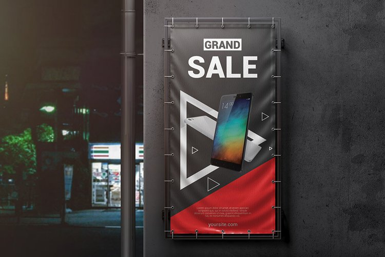 Vertical Outdoor Advertising Banner Mockup