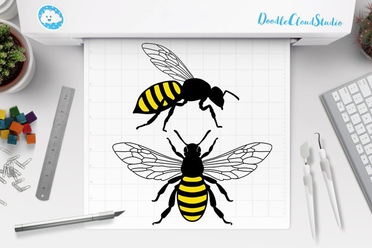 Bee SVG, Honey Bee SVG, Insect SVG, Clipart, SVG example image 1