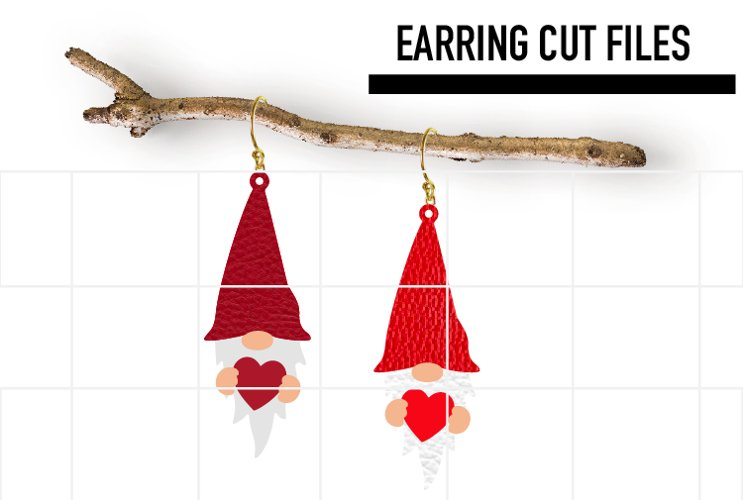 Gnome Love Earrings Svg / Earrings Template example image 1