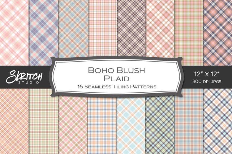 Boho Blush Plaid 16 Tileable Digital Papers