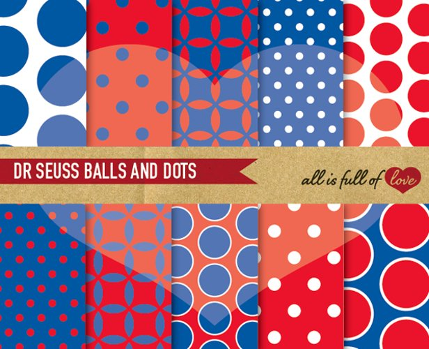 Digital Paper Red and Navy Blue Scrapbook Background Patterns example image 1