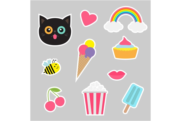 Quirky cartoon sticker patch set. example image 1