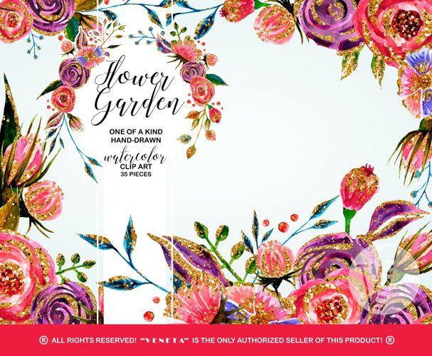 Watercolor Flowers ClipArt Gold Glitter, Handpainted Roses