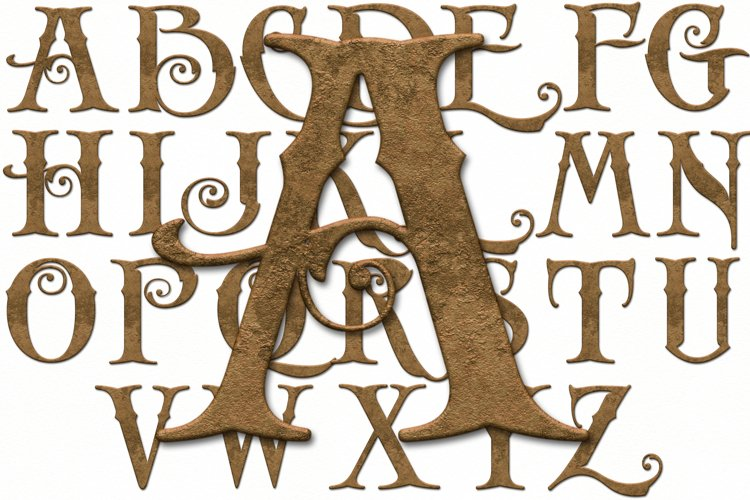 Old English Alphabet and Numbers, Old Gold, Clipart